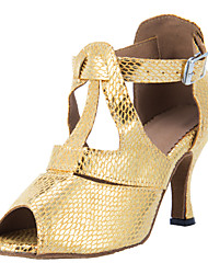 Women's Dance Shoes Latin/Ballroom Leatherette Heel Gold Customizable