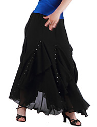 saias de dança de salão feminina chiffon de treinamento estilo elegante natural
