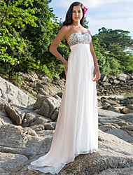 Sheath / Column Sweetheart Sweep / Brush Train Chiffon Wedding Dress with Beading by LAN TING BRIDE®