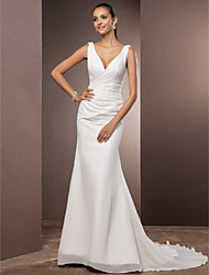 cheap -Mermaid / Trumpet V-neck Court Train Chiffon Wedding Dress with Side-Draped by LAN TING BRIDE®