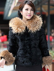 Недорогие -Длинные рукава меховой капюшон и енота кролика Повседневный / партия куртки