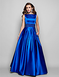cheap -A-Line Ball Gown Bateau Neck Floor Length Satin Prom / Formal Evening / Military Ball Dress with Beading Draping Pocket by TS Couture®