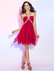 cheap -A-Line Halter Y-Neck Short / Mini Chiffon Cocktail Party / Homecoming / Prom Dress with Crystal Detailing Ruched by TS Couture®