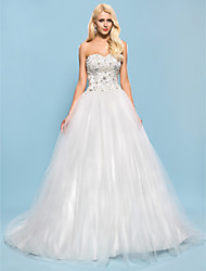 Ball Gown Sweetheart Chapel Train Satin Tulle Wedding Dress with Beading Appliques by LAN TING BRIDE®