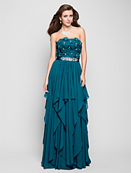 cheap -Sheath / Column Strapless Floor Length Chiffon Prom Dress with Beading by TS Couture®