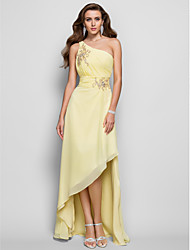 cheap -Sheath / Column One Shoulder Asymmetrical Chiffon Formal Evening / Wedding Party Dress with Beading / Ruched by TS Couture® / High Low