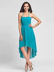 A-Line Princess Halter Knee Length Asymmetrical Chiffon Bridesmaid Dress with Draping by LAN TING BRIDE®