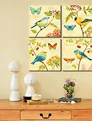 abordables -Reproduction transférée sur toile Art Oiseaux animaux et papillon réglé sur 4