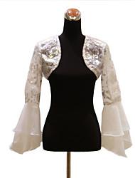 Wraps Wedding Cappotti / Giacche Maniche lunghe Organza Bianco Matrimonio / Da sera / Casual Manica a campana Lustrini Aperte