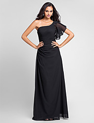 cheap -Sheath / Column One Shoulder Floor Length Chiffon Bridesmaid Dress with Side Draping by LAN TING BRIDE®