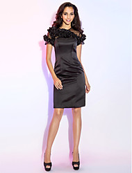 Sheath / Column Jewel Neck Knee Length Satin Cocktail Party Dress with Ruffles by TS Couture®