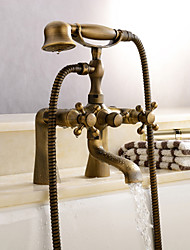 cheap -Antique Tub And Shower Clawfoot Handshower Included Ceramic Valve Two Holes Antique Brass , Shower Faucet Bathtub Faucet