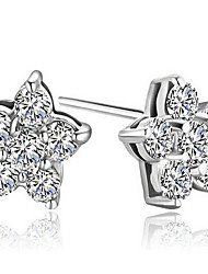 cheap -Women's Crystal Sterling Silver - Flower Sterling Silver For