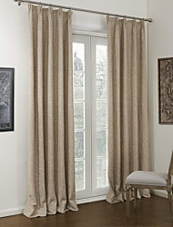 cheap -Curtains Drapes Bedroom Solid Colored Linen / Polyester Blend