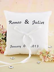 oreiller élégant personnalisé d'anneau de mariage avec la cérémonie de mariage de ruban