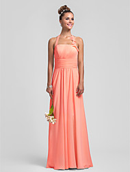 Sheath / Column Halter Floor Length Chiffon Bridesmaid Dress with Draping Ruching Ruffles Pleats by LAN TING BRIDE®
