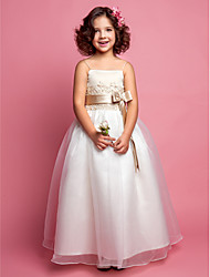 cheap -A-Line Princess Floor Length Flower Girl Dress - Organza Satin Sleeveless Spaghetti Straps with Beading by LAN TING BRIDE®