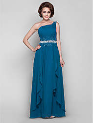 A-Line One Shoulder Floor Length Chiffon Mother of the Bride Dress with Beading Draping Side Draping by LAN TING BRIDE®