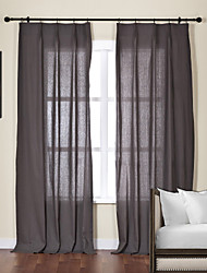 cheap -Two Panels Curtain Modern , Solid Living Room Linen / Cotton Blend Material Sheer Curtains Shades Home Decoration For Window