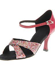 baratos -Mulheres Sapatos de Dança Latina / Dança de Salão Glitter Salto Presilha Salto Personalizado Personalizável Sapatos de Dança Vermelho /