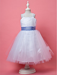 cheap -A-Line / Princess Knee Length Flower Girl Dress - Tulle Sleeveless Straps with Draping / Feathers / Fur / Sash / Ribbon by LAN TING BRIDE®