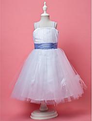A-line principessa abito ragazza fiore lunghezza ginocchio - cinghie sleeveless tulle con drappeggio da lan ting bride®