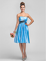 A-Line Strapless Knee Length Taffeta Bridesmaid Dress with Flower(s) Sash / Ribbon Side Draping by LAN TING BRIDE®