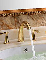 Rustique Diffusion large Soupape céramique 3 trous Deux poignées trois trous Ti-PVD , Robinet lavabo