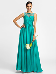 Sheath / Column Bateau Neck Floor Length Chiffon Tulle Bridesmaid Dress with Beading Criss Cross by LAN TING BRIDE®