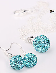 cheap -women's 10mm Ball Crystal Earrings Necklace Jewelry Set No.3
