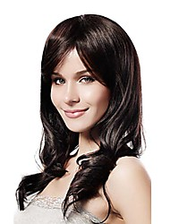 Capless Mixed Hair Long Wavy Dark Brown Hair Wig