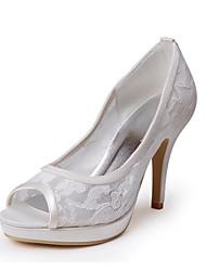 Lace de bom gosto e de cetim Peep Toe Plataforma High Heel Bombas com laço da flor sapatos de casamento