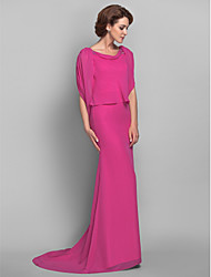 cheap -Mermaid / Trumpet Bateau Neck Sweep / Brush Train Chiffon Mother of the Bride Dress with Beading by LAN TING BRIDE®