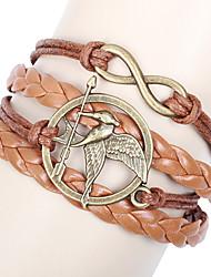 Men's Women's Wrap Bracelet ID Bracelets Unique Design Friendship Handmade Plaited Leather Fabric Animal Shape Bird Infinity Jewelry For