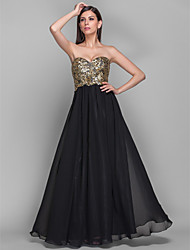 cheap -A-Line / Princess Strapless / Sweetheart Neckline Floor Length Chiffon / Sequined Open Back Formal Evening Dress with Draping by TS Couture®