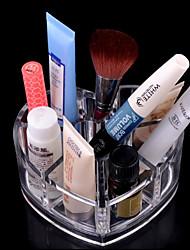 acrílico cosméticos armazenamento transparente estande de maquiagem escova pot coração amoroso em forma de cosméticos organizador