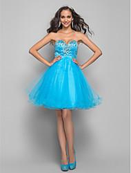 baratos -Linha A Decote Princesa Curto / Mini Tule Coquetel / Baile de Formatura Vestido com Miçangas / Detalhes em Cristal de TS Couture®
