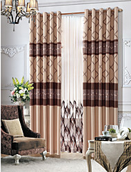cheap -Two Panels  Country Floral Beige Lined Curtain With Sheer Set