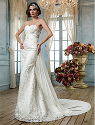 cheap -Mermaid / Trumpet Sweetheart Sweep / Brush Train Lace Sequined Wedding Dress with Beading Appliques by LAN TING BRIDE®