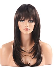 cheap -Synthetic Wig Straight Layered Haircut / With Bangs Synthetic Hair 22 inch Wig Women's Long Capless