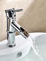 Art déco/Retrò Installazione centrale Valvola in ceramica Uno Una manopola Un foro for  Cromo , Lavandino rubinetto del bagno