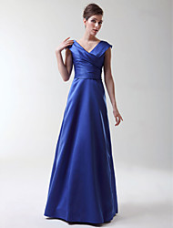 A-Line Princess V-neck Floor Length Stretch Satin Bridesmaid Dress with Criss Cross by LAN TING BRIDE®