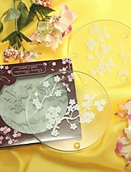 Cherry Blossoms Frosted Glass Coasters(set of 2) Wedding Favors