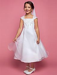 economico -A-line vestito ragazza da fiore lunghezza del tè - collo quadrato sleeveless organza con bordare da lan ting bride®