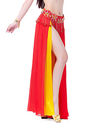 Belly Dance Skirts Women's Training Performance Chiffon Split Front Tiers 1 Piece Skirt