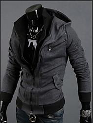 Недорогие -QN Мужская толстовка темно-серый цвета контраста Мода Рубашка