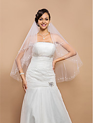 cheap -Two-tier Beaded Edge Wedding Veil Fingertip Veils With Sequin Pearls 25.59 in (65cm) Tulle A-line, Ball Gown, Princess, Sheath/ Column,
