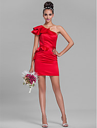 cheap -Sheath / Column One Shoulder Short / Mini Satin Bridesmaid Dress with Sash / Ribbon / Ruffles by LAN TING BRIDE®