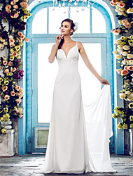 Sheath / Column Spaghetti Straps Sweep / Brush Train Chiffon Wedding Dress with Beading Appliques by LAN TING BRIDE®