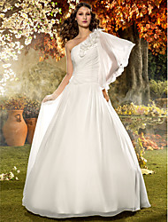 A-Line One Shoulder Floor Length Chiffon Wedding Dress with Flower Side-Draped by LAN TING BRIDE®